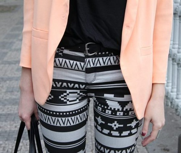 jeans clothes aztec printed jeans pants jacket Trible fall outfits skinny jeans peach salmon fashion