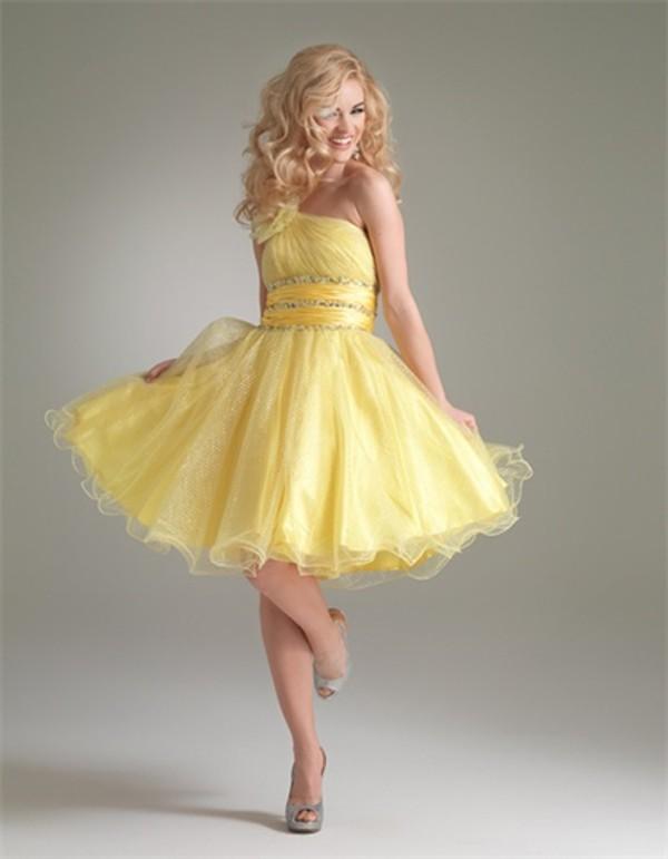 dress yellow short bling prom dress