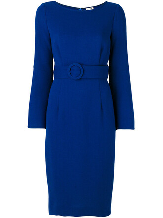 dress midi dress women midi spandex blue wool