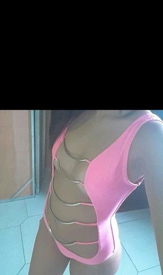 swimwear one piece swimsuit pink swimwear dope swimwear one piece pink pool party beach monokini cute