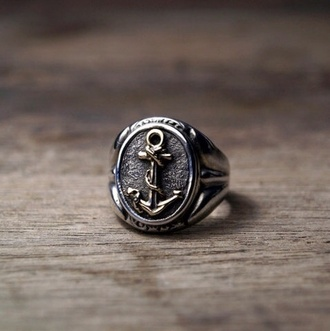 jewels anchor ring mens ring ring silver ring anchor sailor
