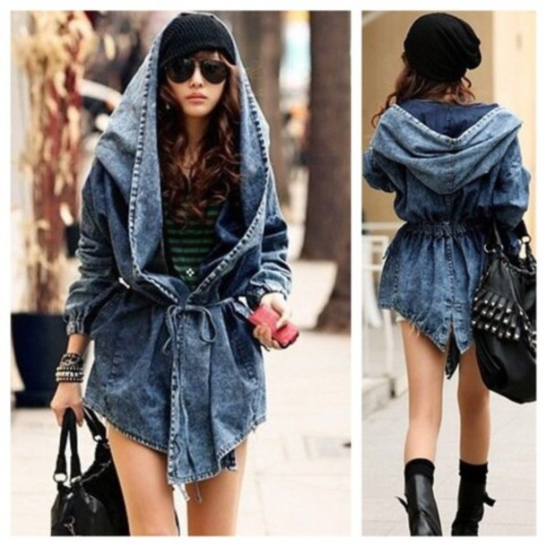 Jacket denim jacket oversized jacket hooded coat ...
