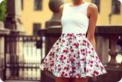skirt,floral skirt,floral,puff skirt