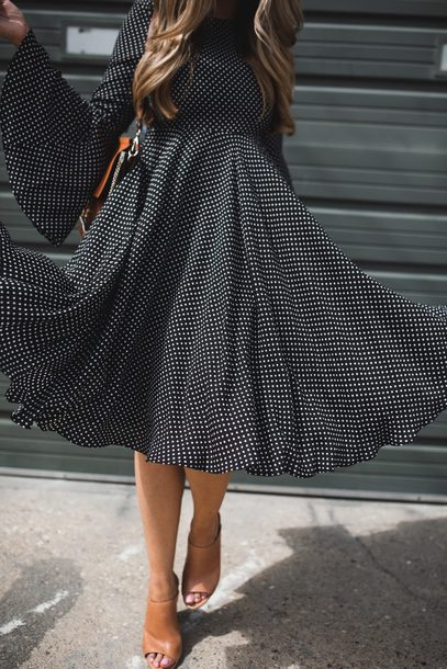 5c3cfe001ca7 dress tumblr black midi dress midi dress black dress polka dots flowy dress  flowy long sleeves