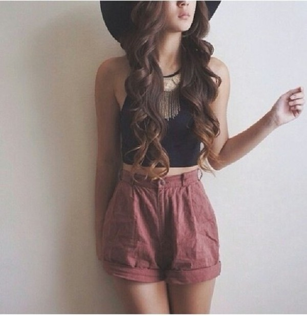 shorts summer outfits shirt hat necklace burgundy blouse jewels High waisted shorts black crop top statement
