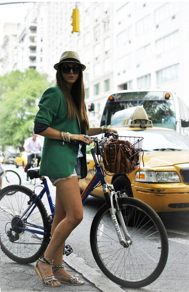women sunglasses shoes fashion coat green coat bike street style hat bags