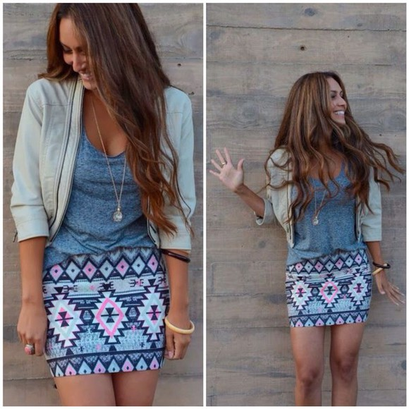 beige style fashion jacket summer outfits winter outfits denim jewels necklace top t-shirt turquoise hot classy winter jacket denim jacket skinny pants bodycon skirt sleeveless pencil skirt aztec leather jacket white streetwear streetstyle underwear