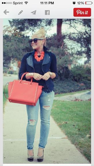 jacket bag cute jeans jewels classy fancy casual