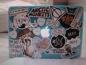 laptop stickers,computer sticker,stickers,the 1975,sassy,zumiez,arctic monkeys,butterfly,okaysage,5 seconds of summer,apple,macbook air,computer case,mint