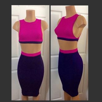 dress purple two-piece multi colored sexy dress