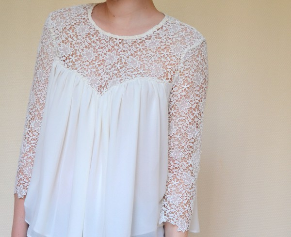 blouse white top lace top flower shirt