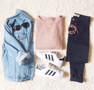 sweater pullover pink denim jacket pants sunglasses shoes white black gold adidas shoes jacket adidas tumblr tumblr outfit cute outfits aesthetic blue jacket