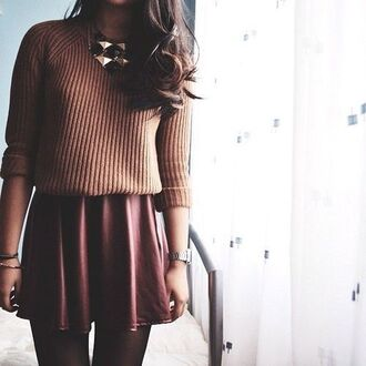 sweater skater skirt back to school cute outfits burgundy burgundy skirt knitted sweater fall colors