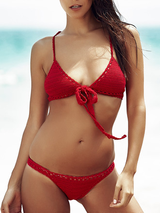 swimwear dressfo crochet bikini red girl summer red bikini