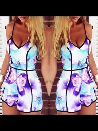dress summer neon purple blue colorful multicolor tumble floral print jumpsuit spring flowers pretty summer dress flroral dresses