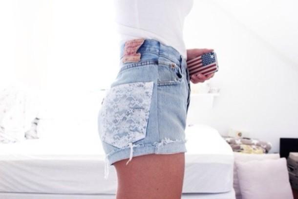 shorts lace cheetos pink