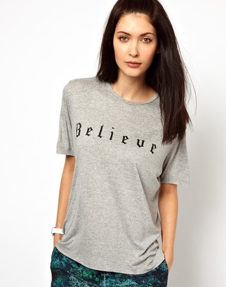 t-shirt top shir4t shirt tees sweater believe believe shirt gray cute girl brunette fashion watch vogue chanel hipster vintage quote on it internet tumblr