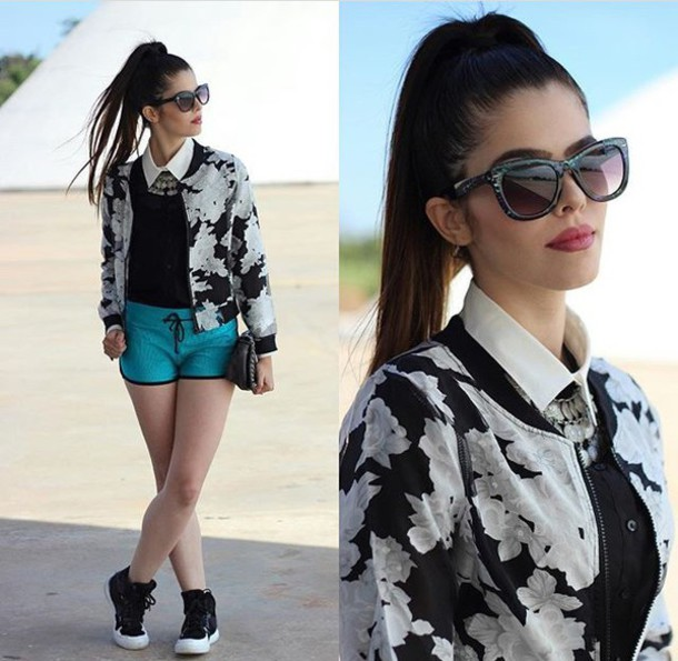 jacket blouse shirt jewels bomber jacket shorts sunglasses