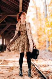 the clothes,blogger,satchel bag,leopard print,dress,coat,opaque tights,fall dress,animal print,trench coat,camel coat,black bag,tights,boots,black boots,ankle boots