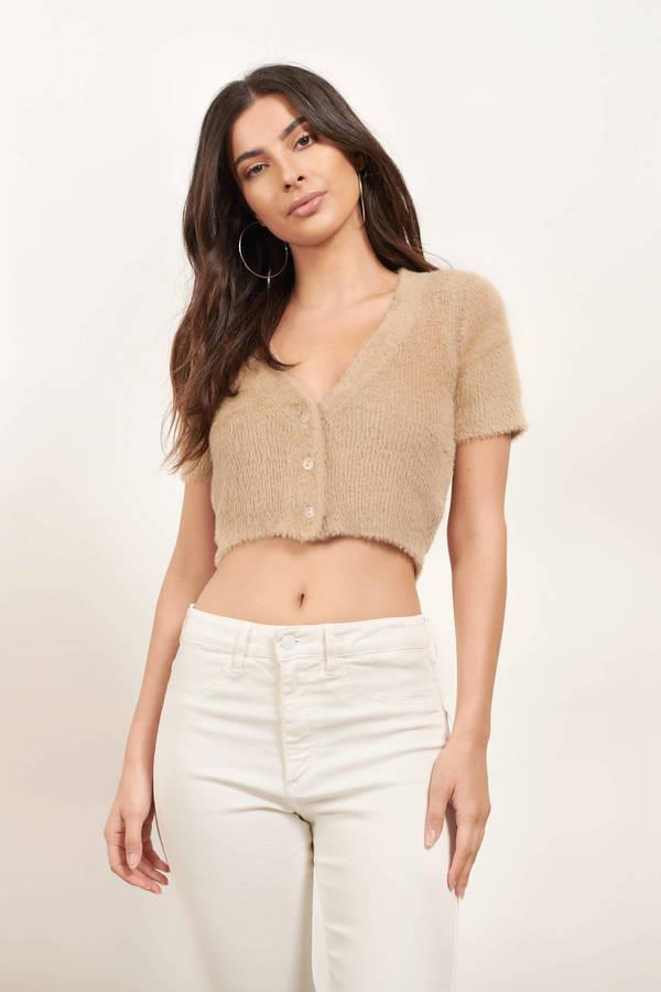 Warm And Fuzzy Tan Sweater Top