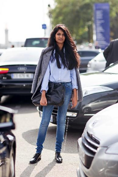 oxfords blogger jacket coat bag le fashion jeans casual