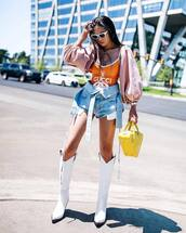 shoes,white boots,knee high boots,cowgirl boots,handbag,denim skirt,one piece swimsuit,long sleeves,sunglasses