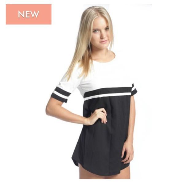 T Shirt Dress Black White Baseball Jersey Oversized Shirt Dress