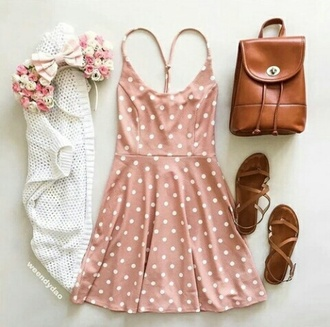 dress pink dress polka dots summer dress romantic dress