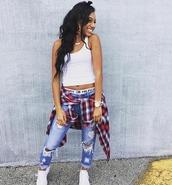 pants,flawless_nikii,tommy hilfiger,miami fashion,smile and laugh at the haters,badass,tank top,shoes,jewels