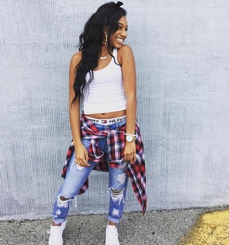 pants flawless_nikii tommy hilfiger miami fashion smile and laugh at the haters badass tank top shoes jewels