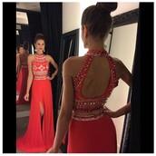 dress,prom dress,red dress,two piece dress set,two-piece,two pieces prom dress,long prom dress,open back dresses,open back,two piece prom dresses,prom gown,prom,fashion,red,red prom dress