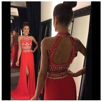 dress prom dress red dress two piece dress set two-piece two pieces prom dress long prom dress open back dresses open back
