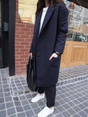 korean fashion,korean style,long coat,long blazer,blazer,navy,blue,grunge,tumblr,hipster,coat,blue long coat