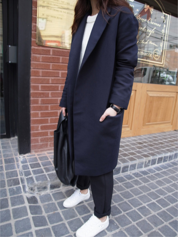 korean fashion korean style long coat long blazer blazer navy blue grunge tumblr hipster coat blue long coat
