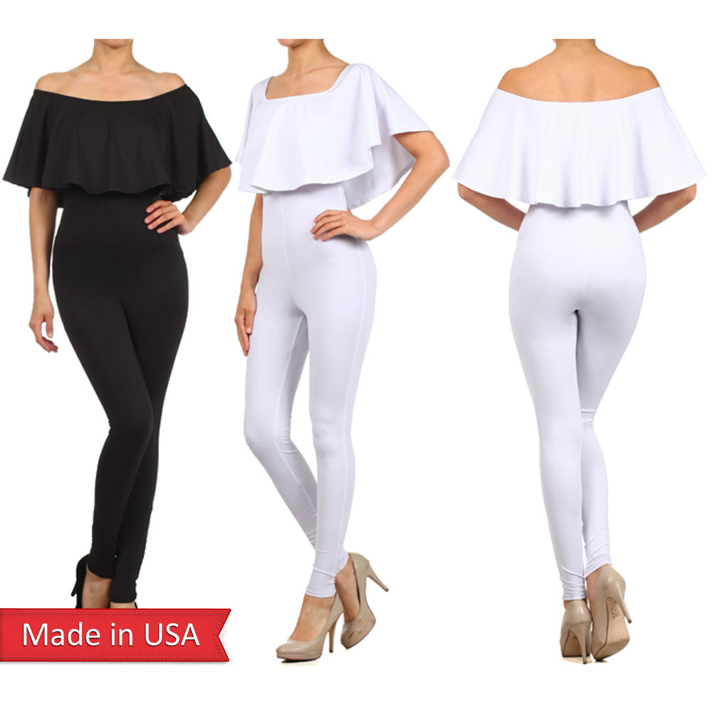 281fb7ad8f4 Women Black White Off Shoulder Catsuit Romper Jumpsuit w  Pleated ...