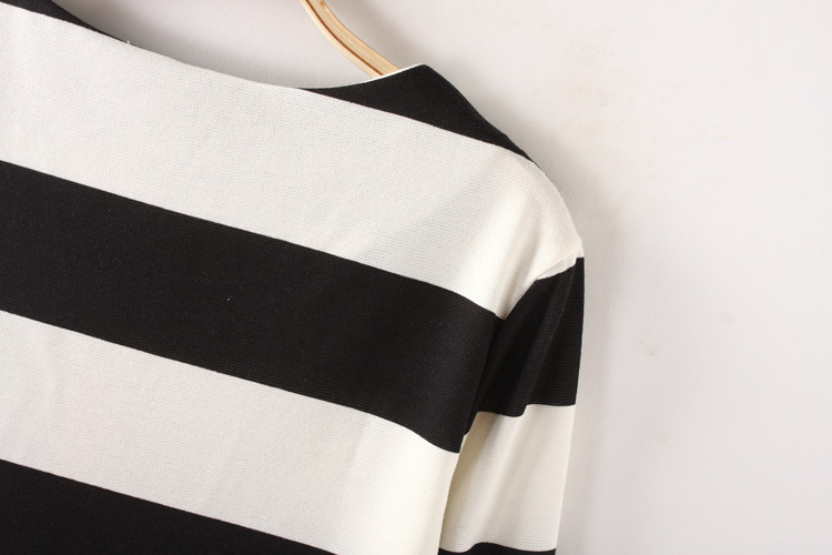 Chic Color Stitching Stripe Dress [FXBI00388] - PersunMall.com