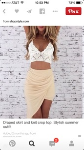 top,crochet crop top,asymmetric skirt,asymmetrical,crochet top