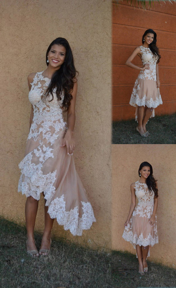 Dress sexy a line scoop high low lace prom dress for Hi lo dress wedding guest