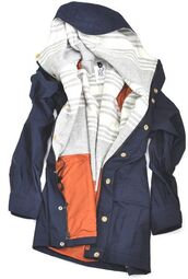 jacket,coat,navy,parka,comfy,blue,grey on he inside,rain jacket,winter jacket,fashion,long sleeve jacket,long lengthed,blue jacket,pink,stripes,windbreaker,raincoat,grey,white,black,button up