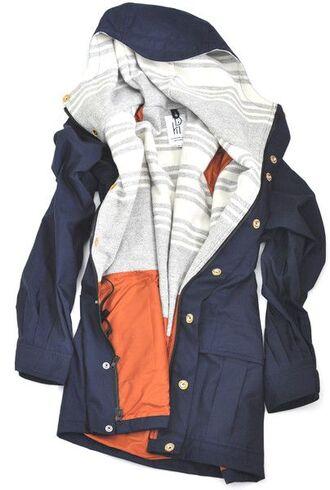 jacket coat navy parka comfy blue grey on he inside rain jacket winter jacket fashion long sleeve jacket long lengthed blue jacket pink stripes windbreaker raincoat grey white black button up