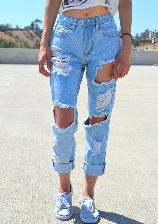 Jeans: denim, acid wash, light blue, light washed denim, light ...
