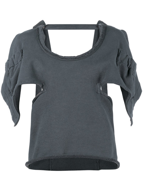 top oversized back open open back women spandex cotton grey