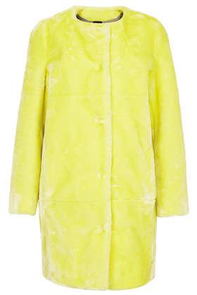 Faux Fur Collarless Coat - Jackets & Coats  - Clothing  - Topshop