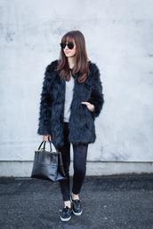m loves m,blogger,sunglasses,fuzzy coat,faux fur,black bag,jacket,sweater,jeans,shoes,bag,black fur coat