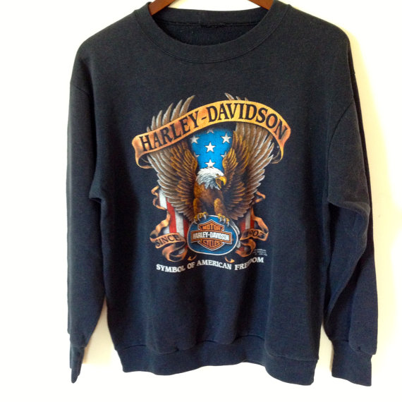 Vintage Harley Davidson Black Sweatshirt By Shopkingdude