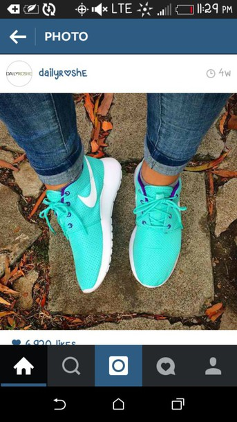 shoes roshe runs turquoise nike sneakers nike shoes