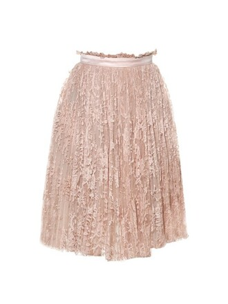 skirt lace skirt pleated lace light pink light pink