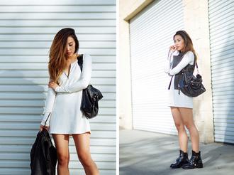neon blush blogger jacket white dress leather bag