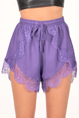 Lucky Penny Lace Shorts in Purple | Foxx Foe