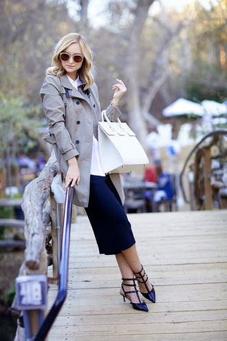 late afternoon blogger sunglasses pointed toe trench coat pencil skirt handbag shoes bag coat skirt